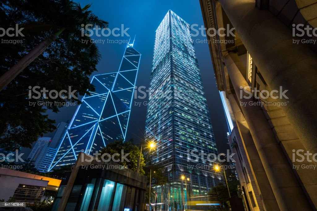 directly below of modern financial skyscrapers in central Hong Kong stock photo