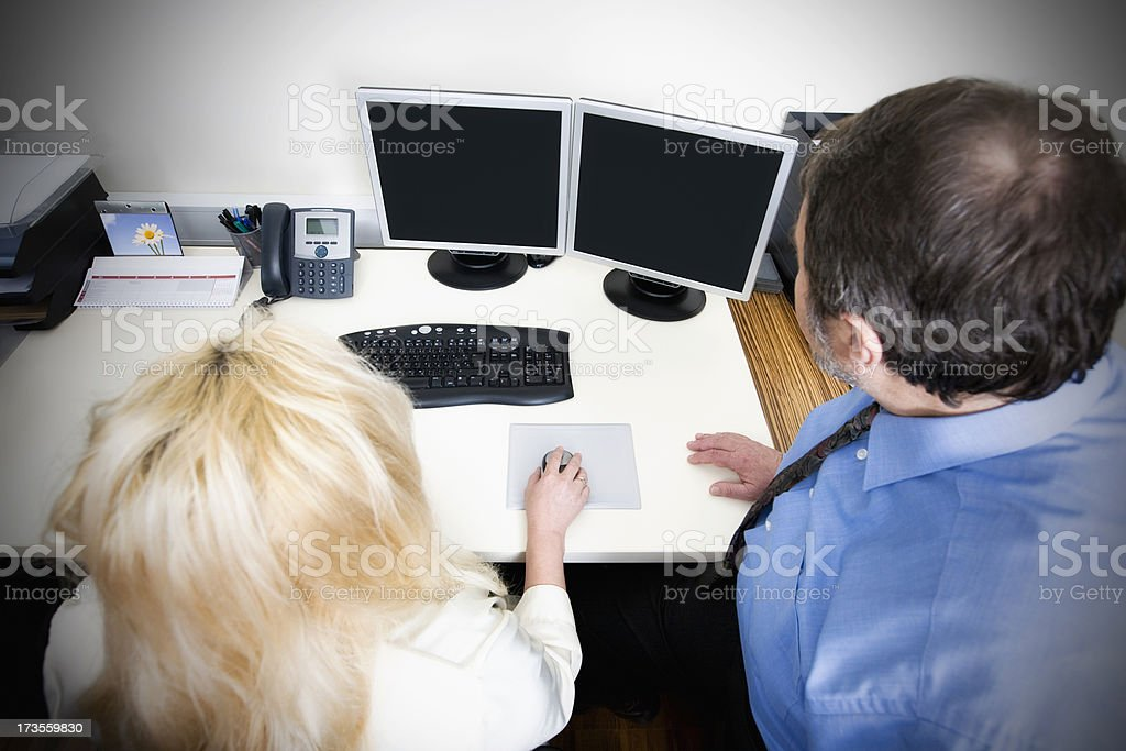 Director and his assistant (screen paths) royalty-free stock photo