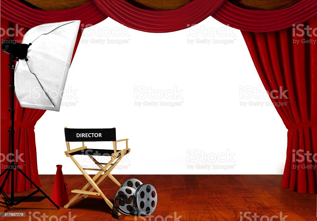Director chair and equipment standby for audition on stage stock photo