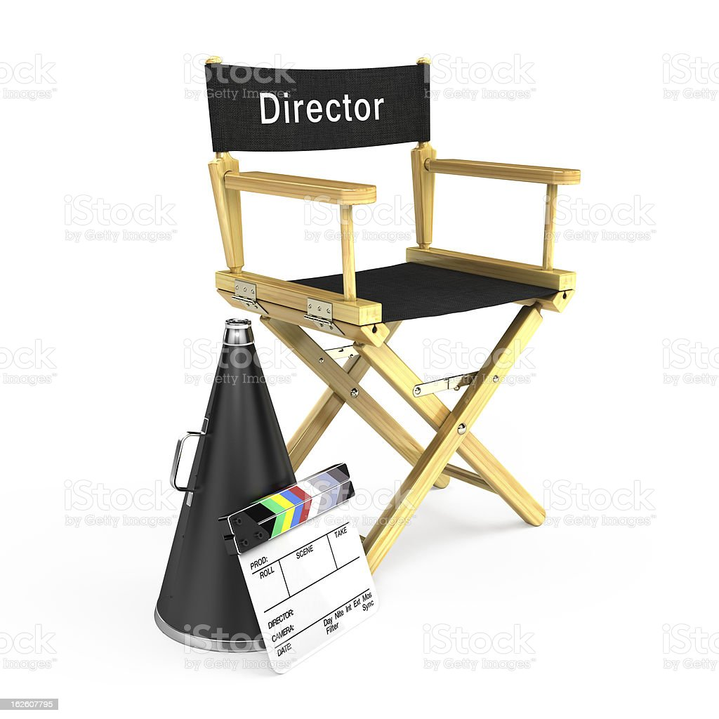 Director chair, clapper board and megaphone stock photo