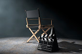 Director Chair, Movie Clapper and Megaphone in the volumetric li