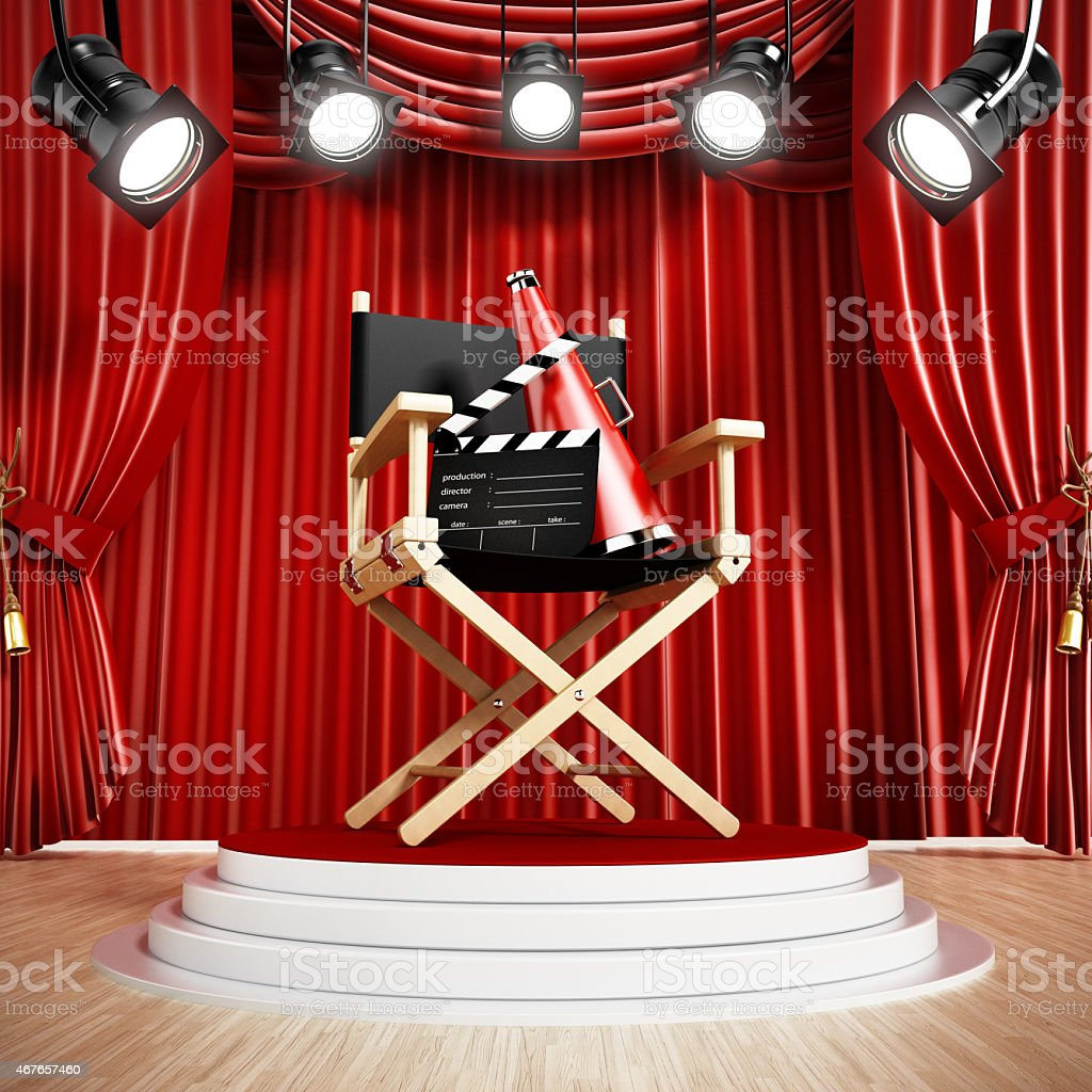 Director chair on the stage stock photo