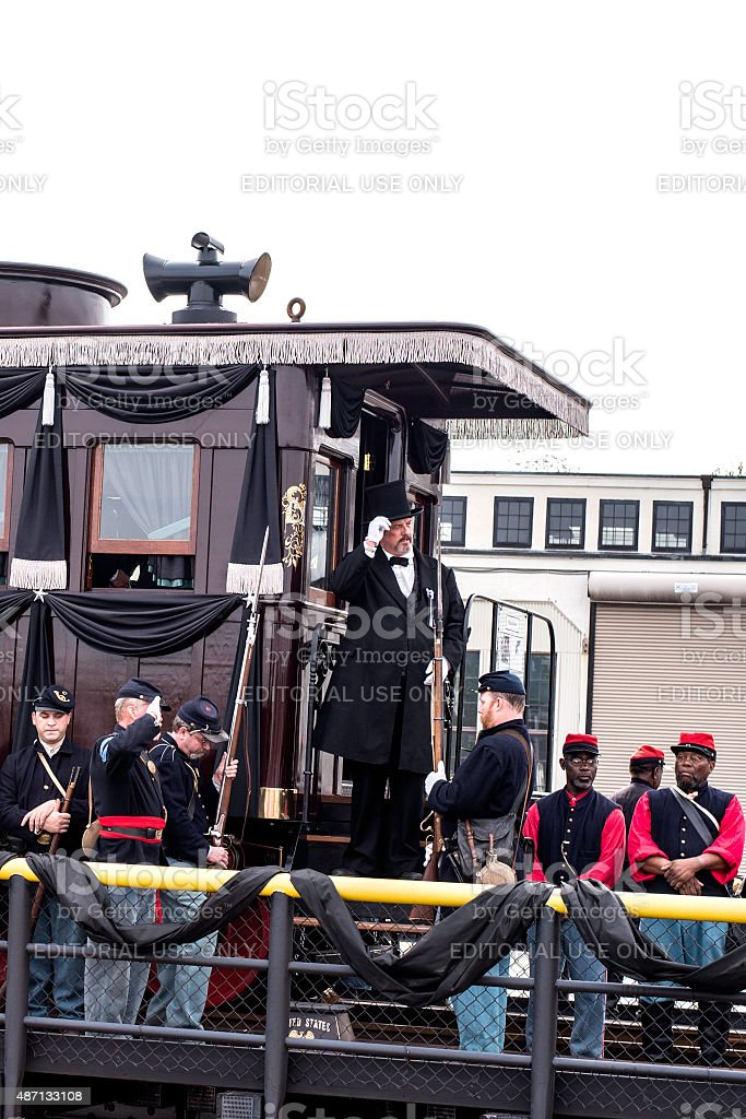 Director Of  Lincoln Funeral Proceedings Reenactment On Steps of Lincoln Funeral C stock photo