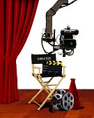 Director seat and movie making equipment on stage