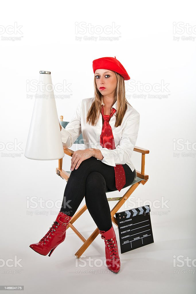 Director with Megaphone royalty-free stock photo