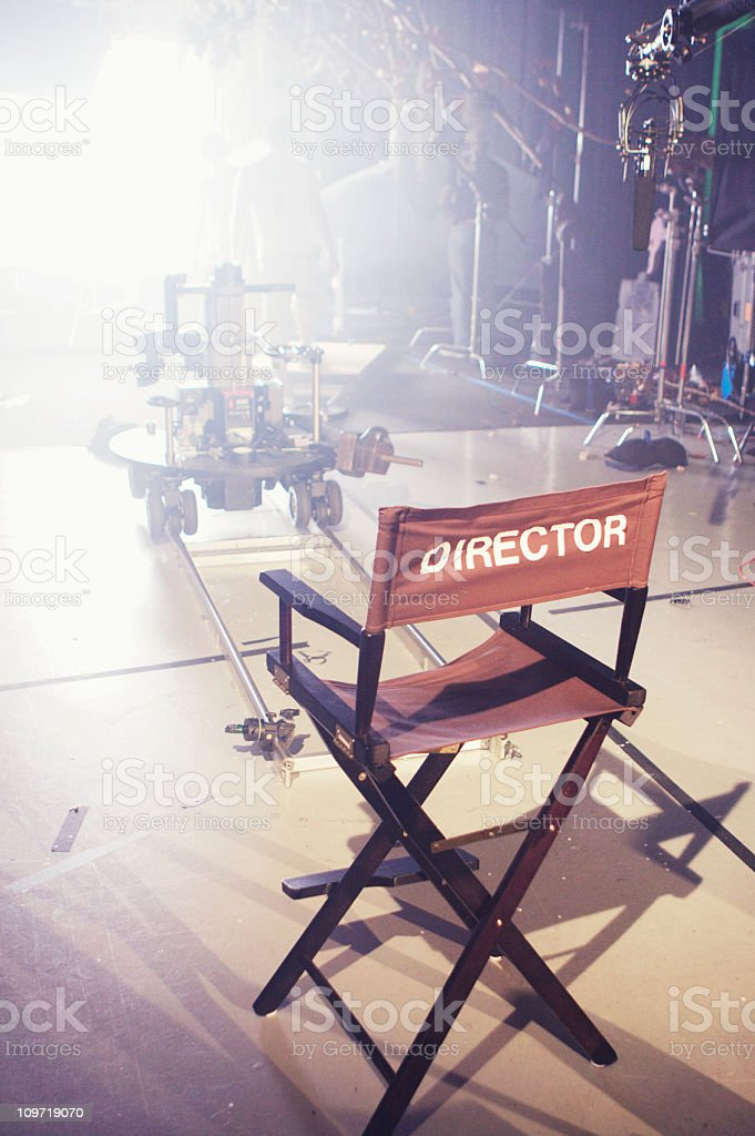 Director's Chair on Movie and Television Set stock photo