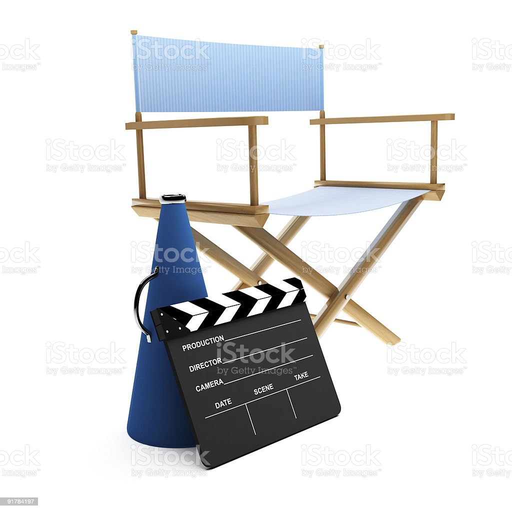 director\'s chair, megaphone and clapboard on white background