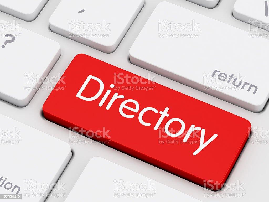 Directory written on keyboard key stock photo