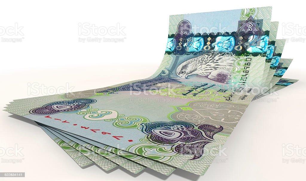 Dirham Bank Notes Spread stock photo