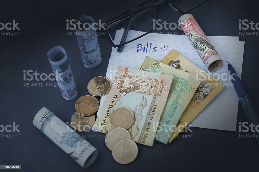 UAE Dirhams banknote on of table royalty-free stock photo