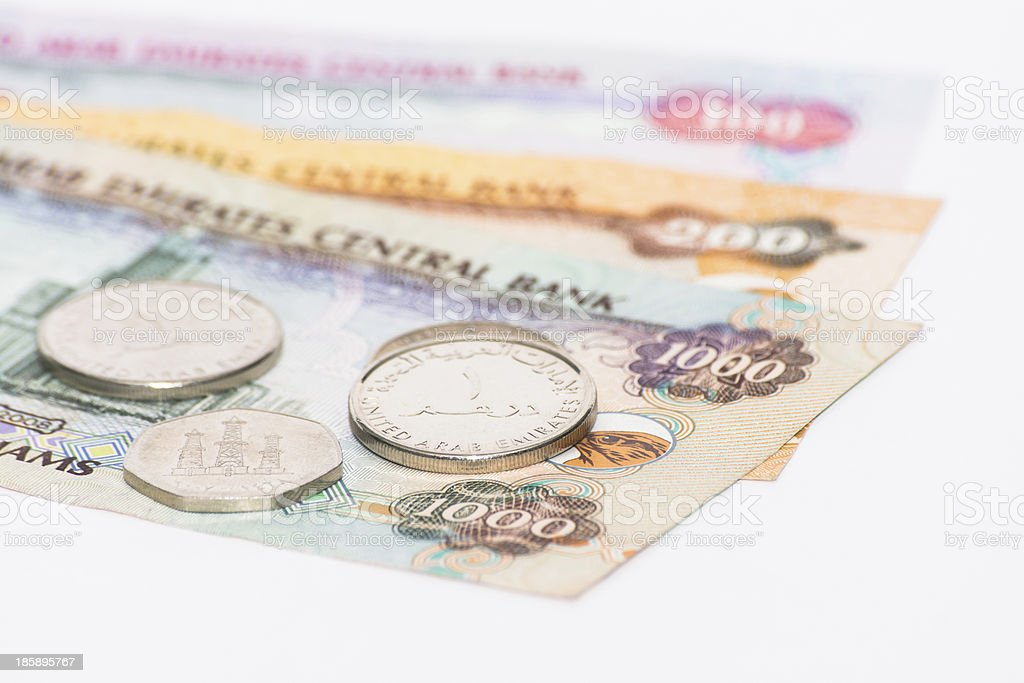 UAE dirhams with coins royalty-free stock photo