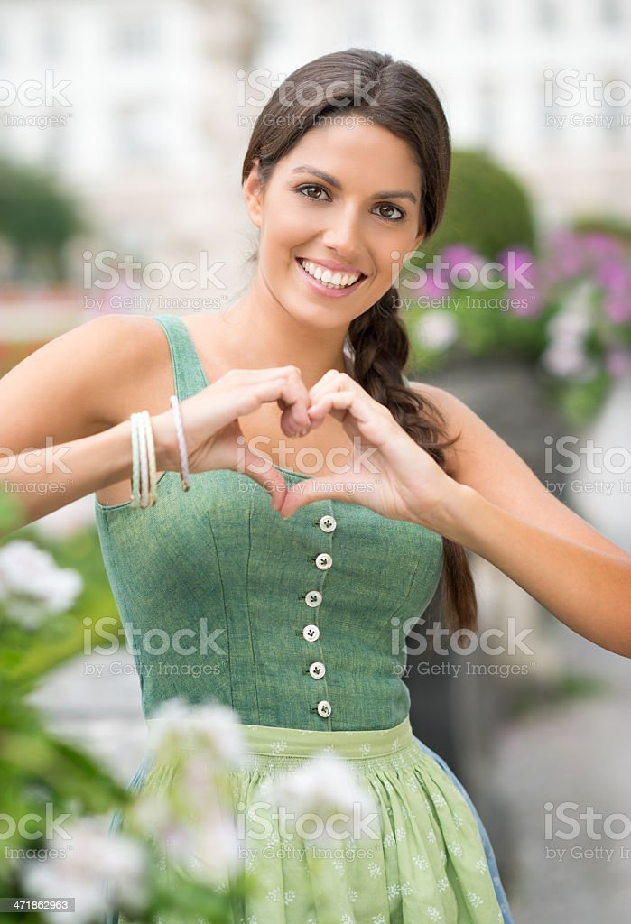 Dirndl Love, Beauty forming a Heart royalty-free stock photo