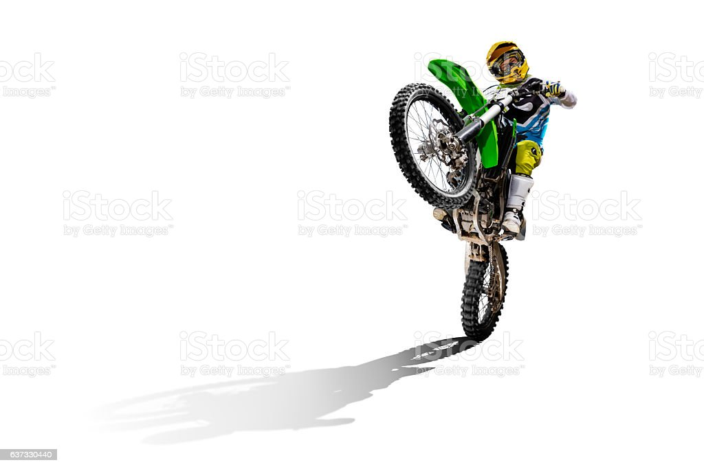 Dirt bike and rider isolated on white stock photo