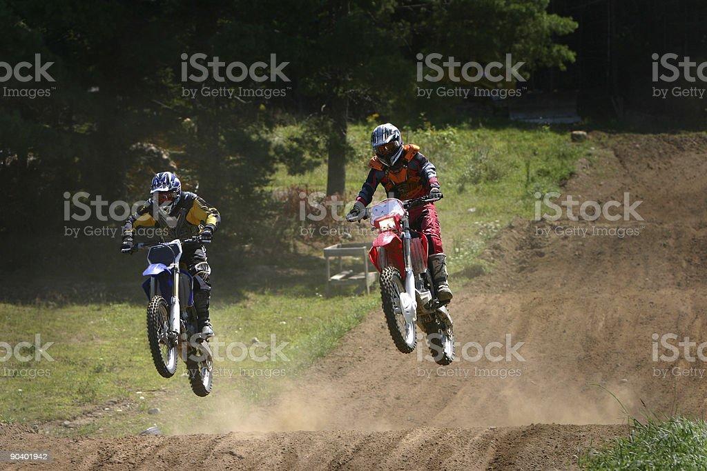 Dirt bike racers stock photo