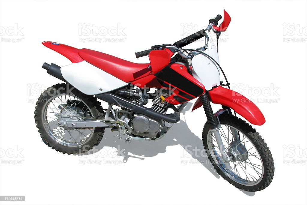 A dirt bike with shadow on a white background stock photo