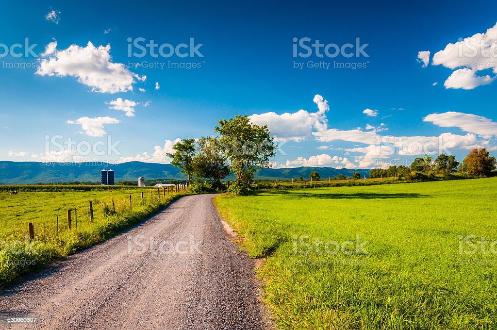 Dirt country road through farmland in the Shenandoah Valley, Vir stock photo