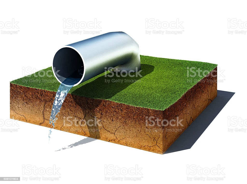 dirt cube with water pipe isolated on white background stock photo