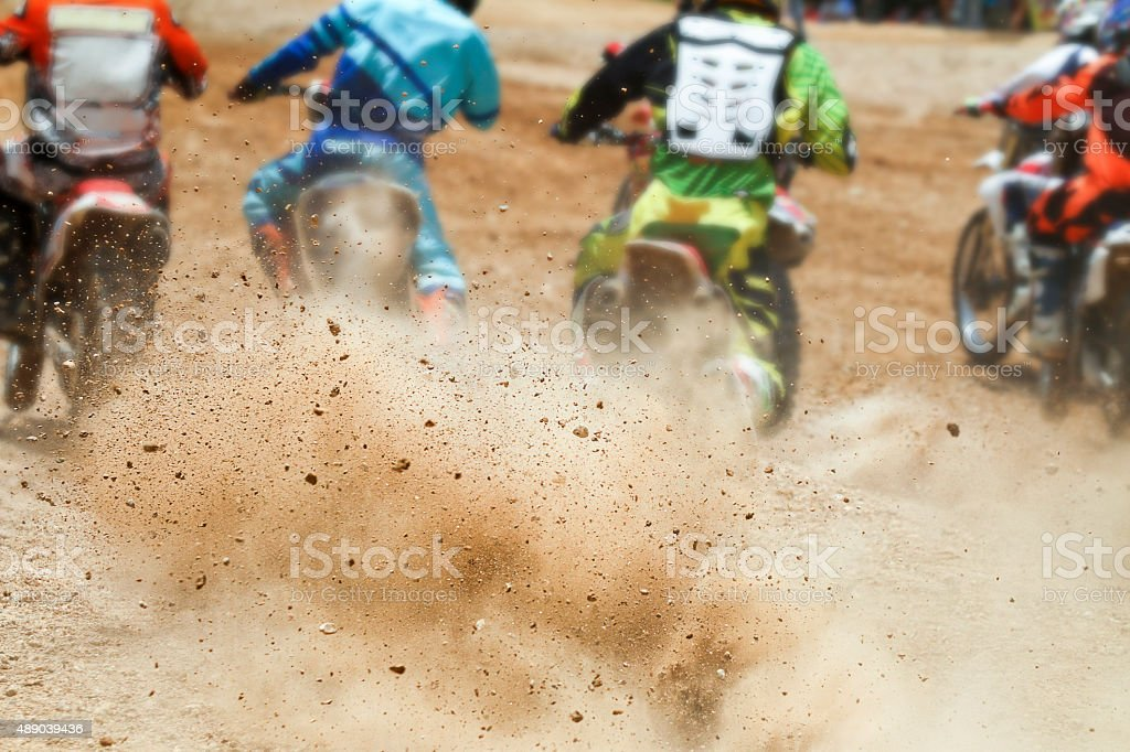 Dirt debris from a motocross race stock photo