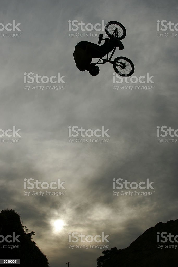 BMX dirt jumper front flipping royalty-free stock photo