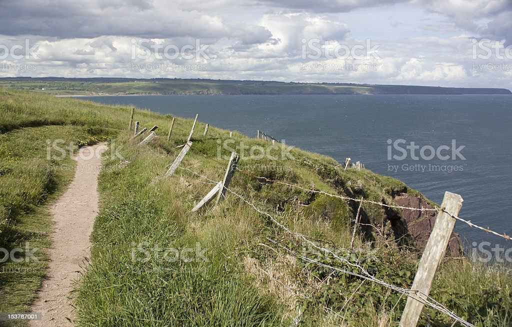Dirt path along Irish coast stock photo
