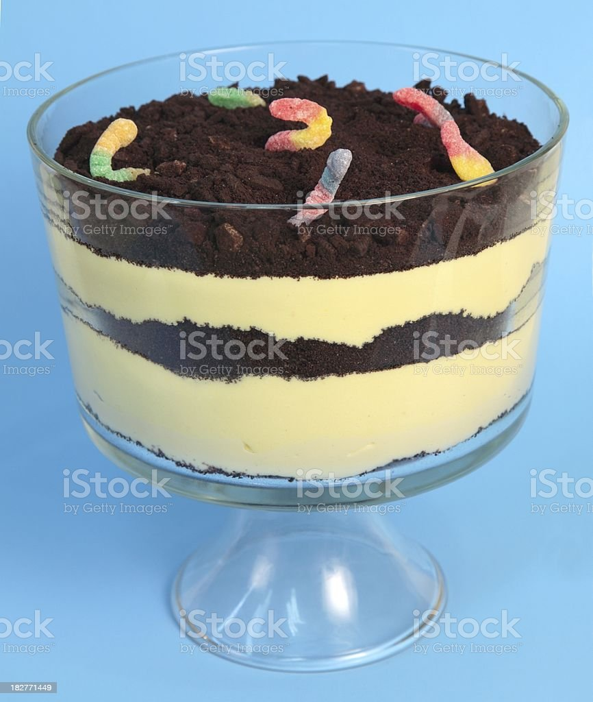 Dirt Pudding Dessert with Candy Worms stock photo