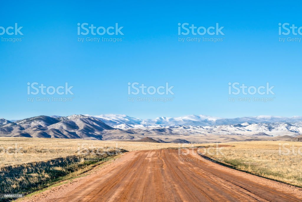 Dirt ranch road at Colorado foothills stock photo
