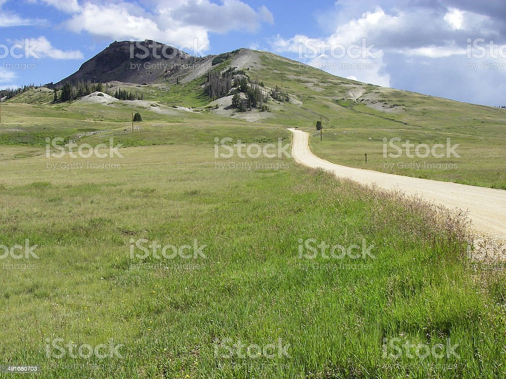 Dirt Road across green Mountain Meadows Bryan Head Utah stock photo
