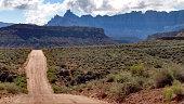 Dirt road desert landscape Eagle Crags South Mesa Rockville Utah