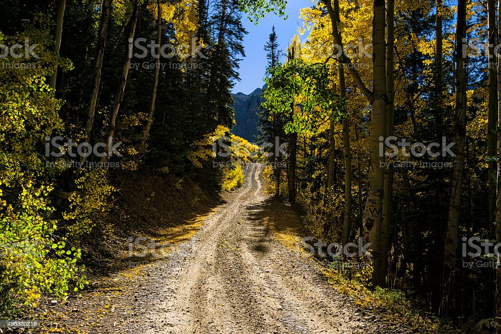 Dirt Road Fall Colors stock photo