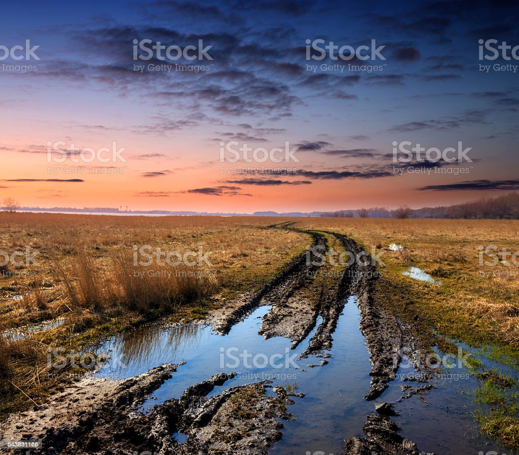 dirt road in spring steppe after rain stock photo