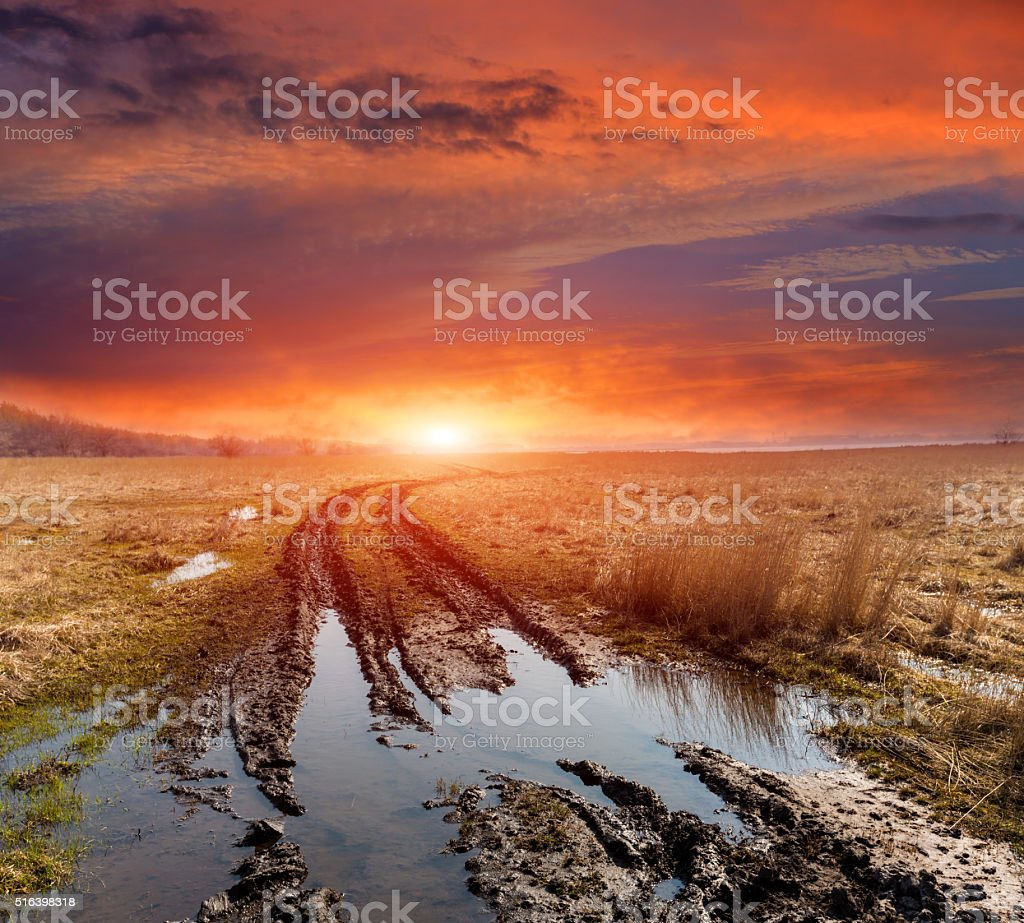 dirt road in spring steppe stock photo