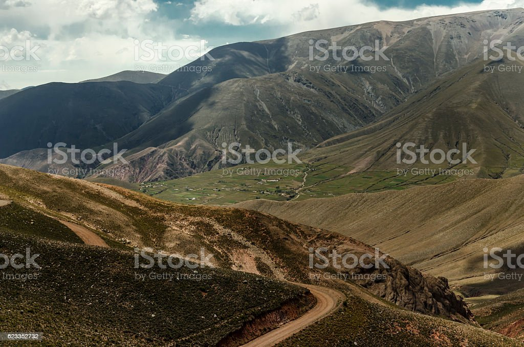 dirt road in the central Andes stock photo