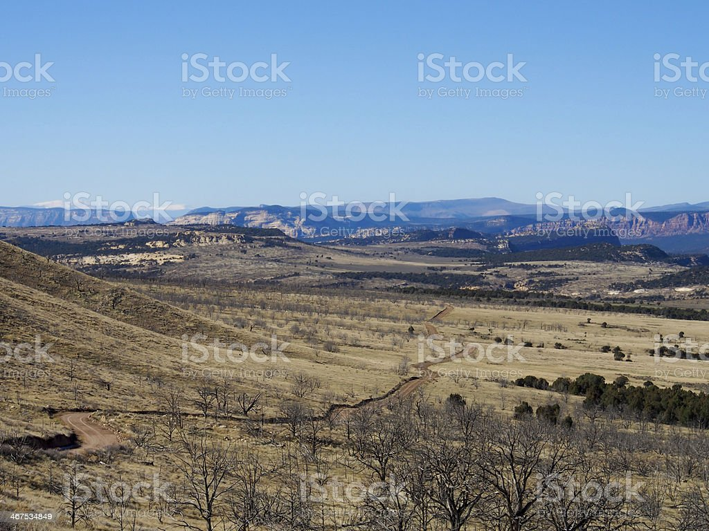 Dirt Road into Dinosaur National Monument stock photo