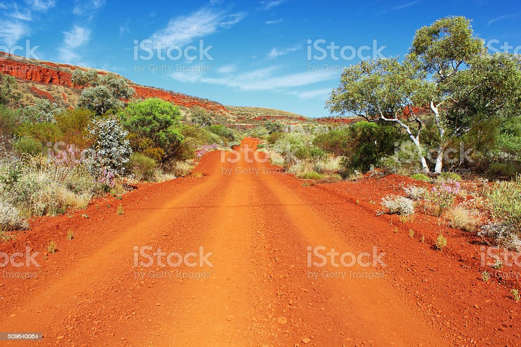 Dirt Road leading through Karijini National Park, Mount Nameless stock photo