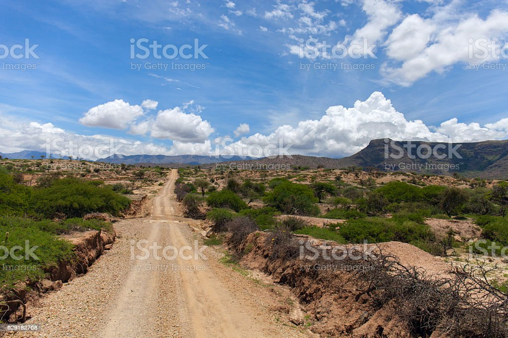 Dirt road leading up into rough mountains stock photo
