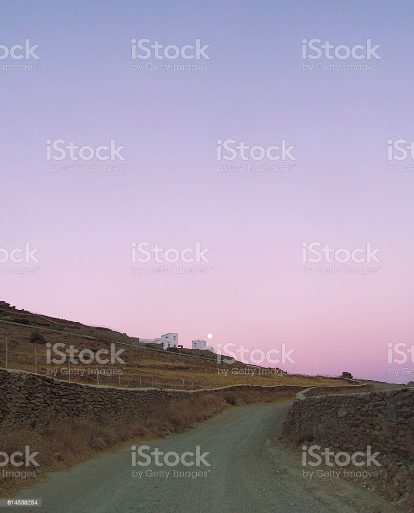 Dirt road on a Mediterranean island stock photo