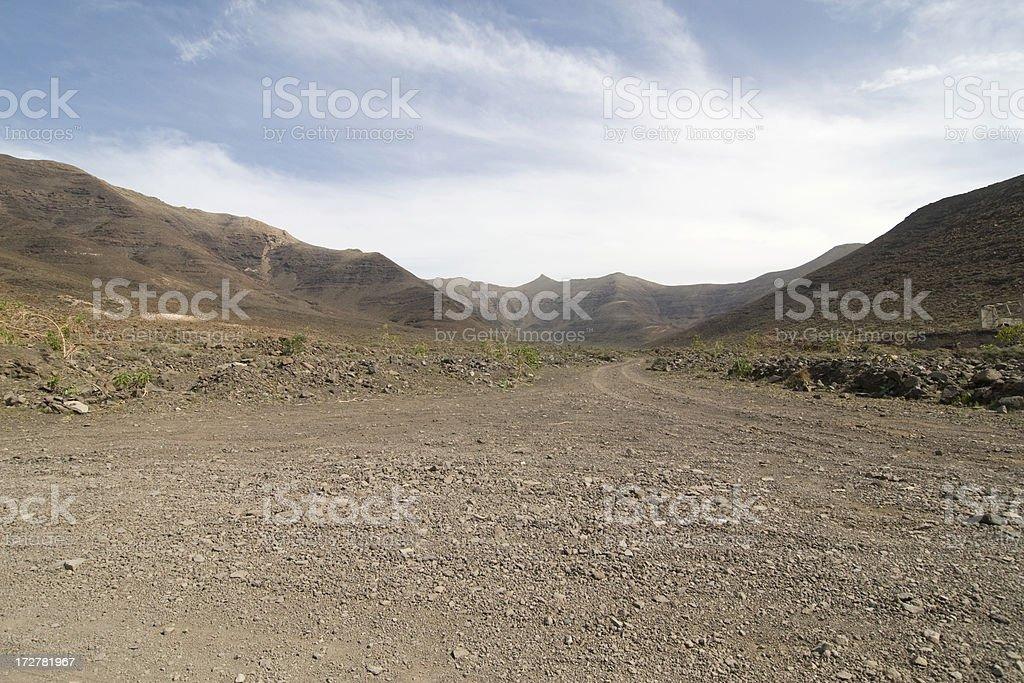 Dirt road on Fuerteventura royalty-free stock photo