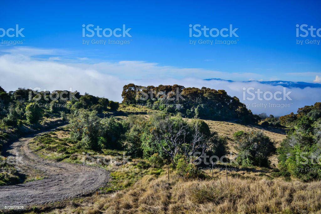Dirt road on top of the mountain stock photo