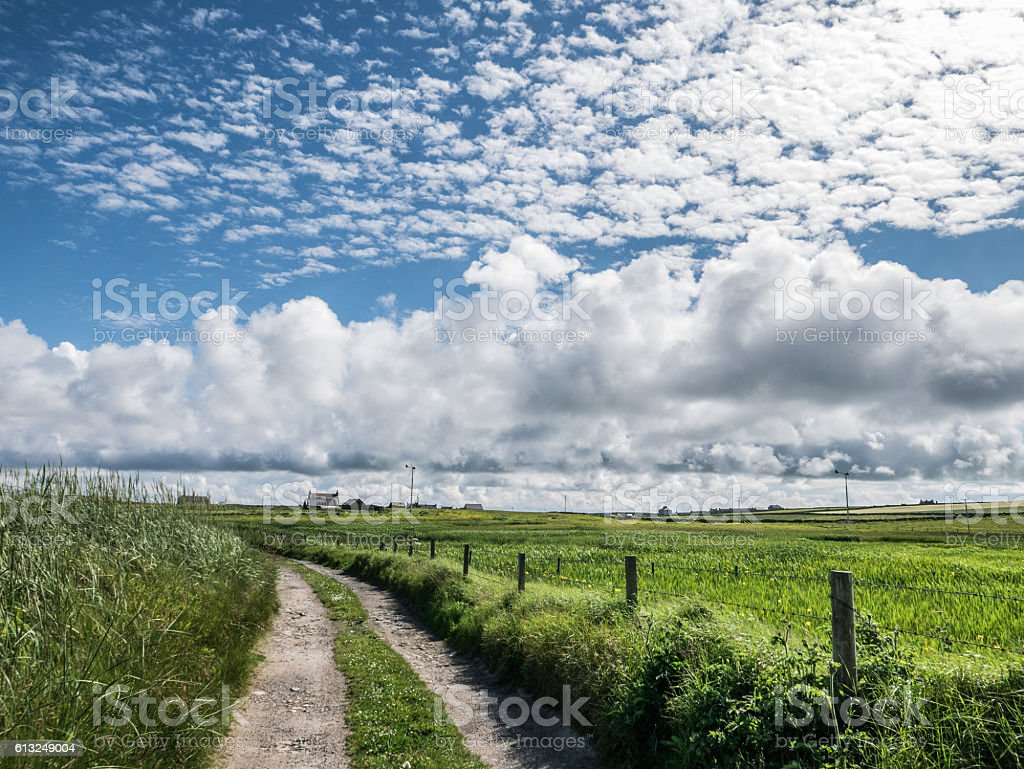 Dirt Road, Orkney stock photo