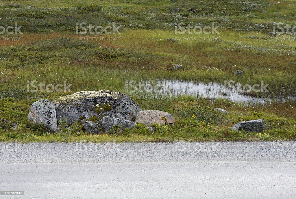 Dirt road roadside in Norwegian mountains royalty-free stock photo