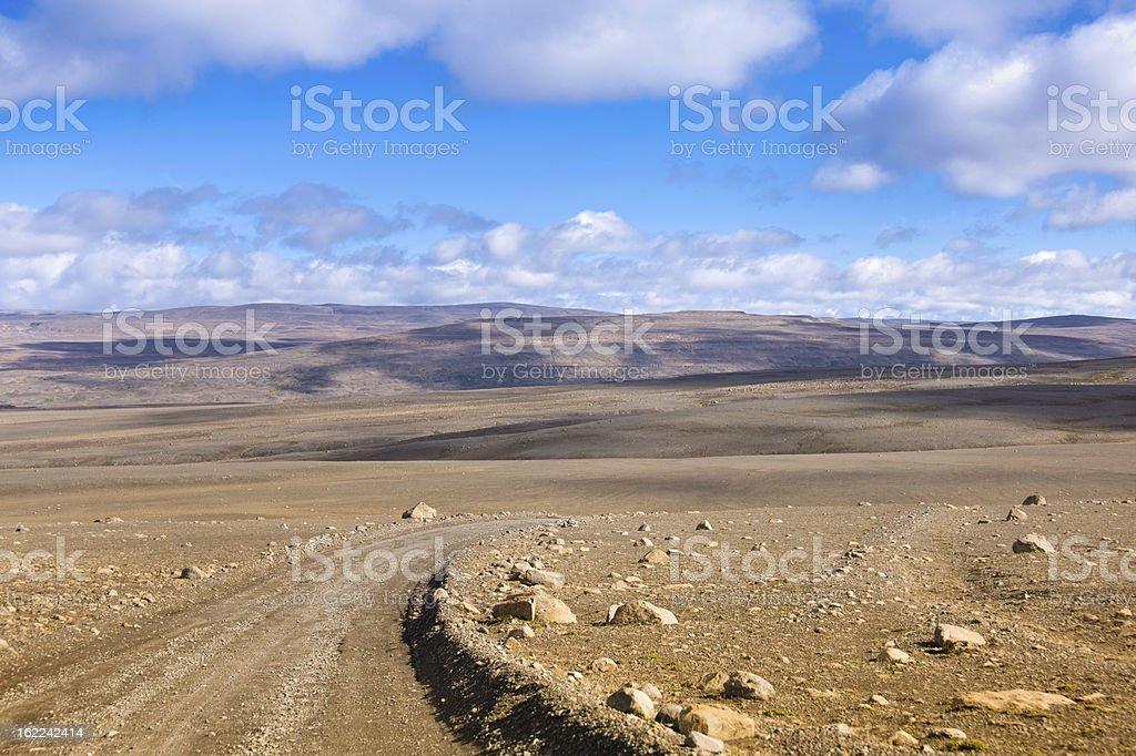 Dirt Road Sprengisandur Central Iceland Volcanic Desert Landscape stock photo