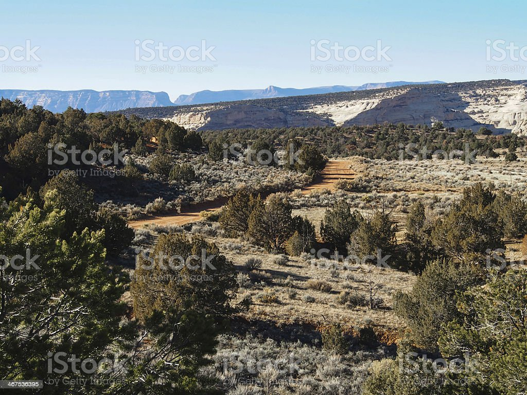 Dirt Road Through Dinosaur National Monument stock photo