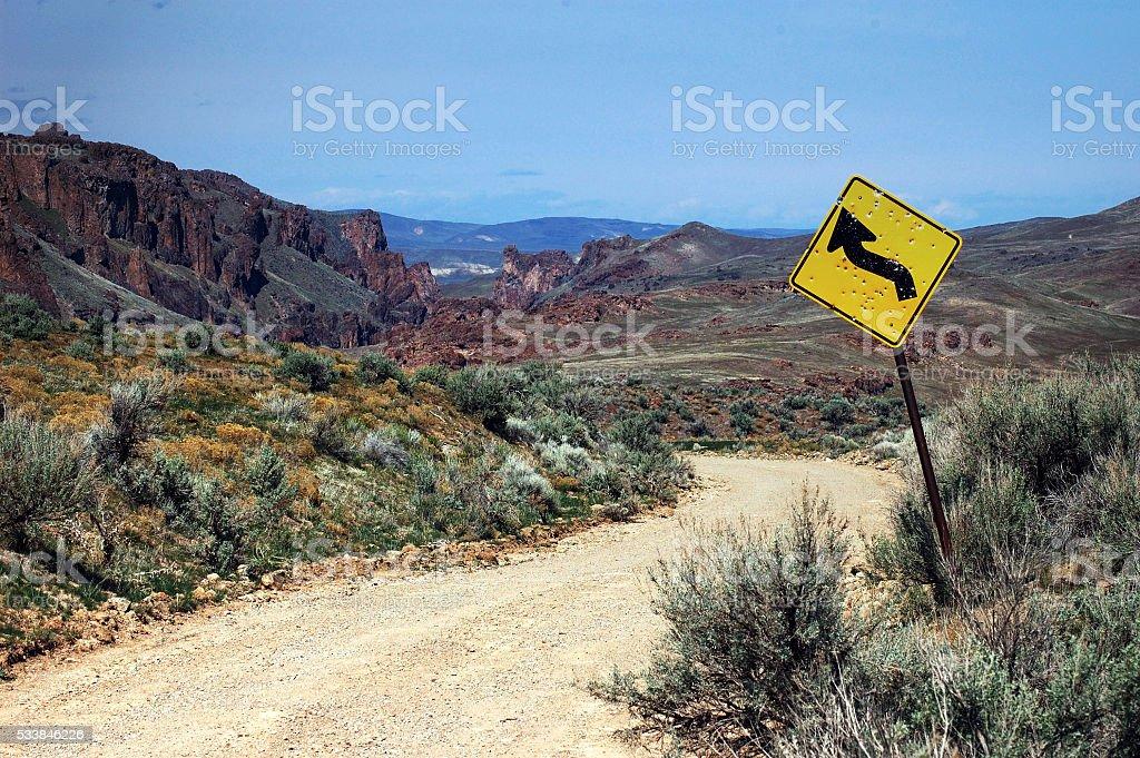 Dirt Road through High Desert at Succor Creek Eastern Oregon stock photo