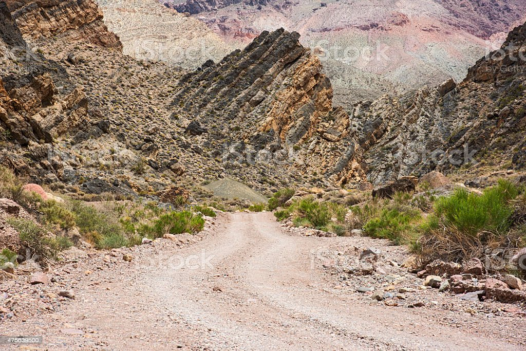 Dirt Road through Titus Canyon, Death Valley stock photo