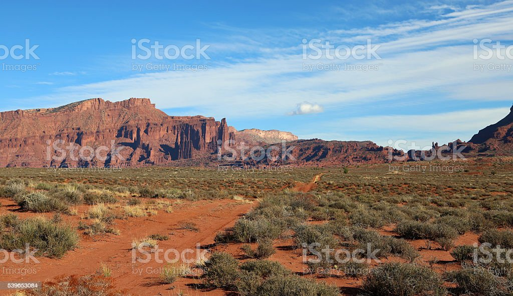 Dirt road to Fisher Towers stock photo