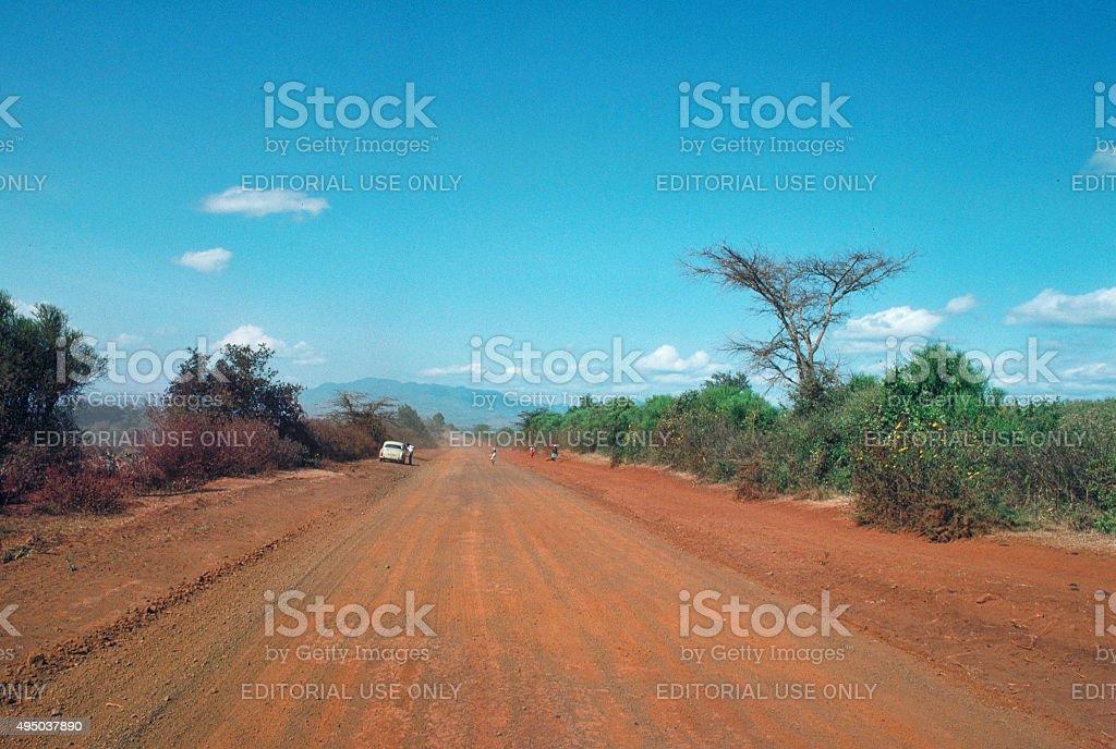 Dirt road to Meru Kenya 1958 Mercedes 180E car stock photo