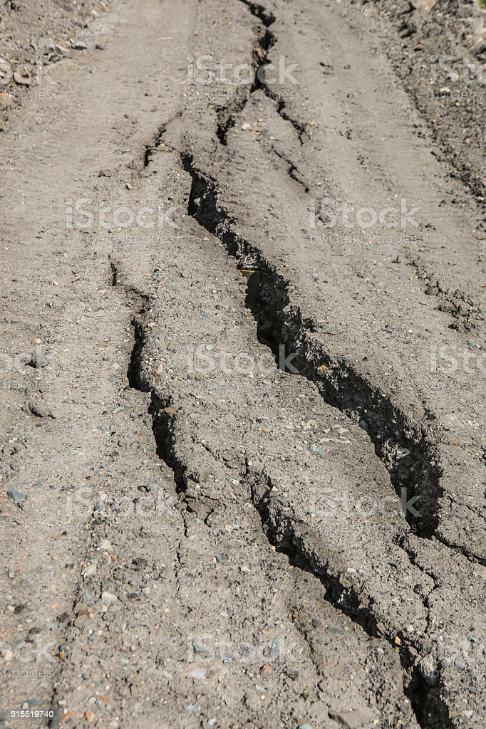 dirt road with cracks stock photo