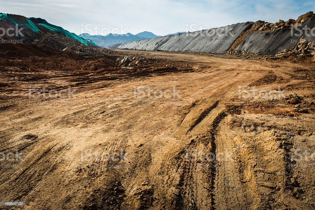 Dirt roads with many tire tracks stock photo