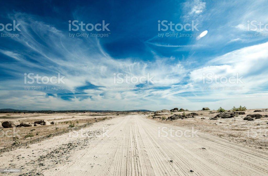 Dirt trail at Folsom Lake stock photo