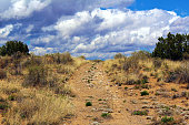 Dirt Trail Leading Up Toward Dramatic Sky